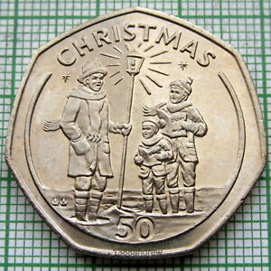 GIBRALTAR 1991 50 PENCE, CHRISTMAS - CAROL SINGERS, UNC