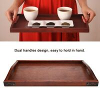 Vintage Wooden Serving Tray Plate With Handles for Tea Set Fruits Candies Food