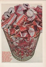 "1966 Coca-Cola Trash Can of ""Diamond Design"" Cans photo vintage promo print ad"