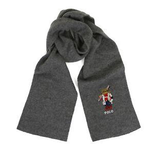 Polo Ralph Lauren Bear Wool Cotton Blend Scarf Scarves - Grey w/ Ski Gear