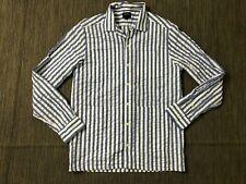 NOAH Adult Mens Small Oversized Four Pocket Shirt Pinstripe Blue White