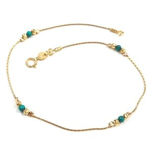 3 pcs 14kt Gold Filled Chain Hammered Beads & 3mm Green TURQUOISE Beads ANKLETS