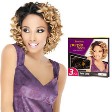Outre Premium Purple Pack 3PCS Human Hair Blend Weaving Extension - Twin Deep