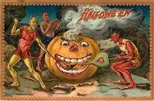 Giant Halloween Pumpkin & Three Devils Wall Decal or Print, Raphael Tuck Vintage