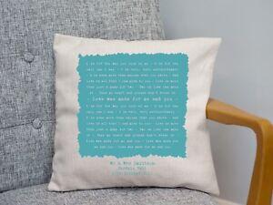 Nat King Cole 'L-O-V-E' Personalised Lyrics Cushion 2nd Cotton Anniversary Gift
