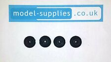 Set of 4 TootsieToy 14mm O/D 4mm Wide Reproduction Solid Black Rubber Wheels