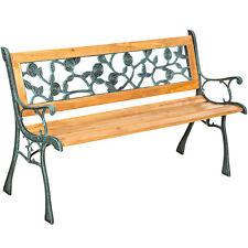 Banc mobilier meuble de jardin parc canapé terrasse en bois et fonte 124 cm neuf