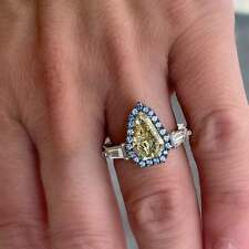 Beautiful Aqua Yellow, Blue, Pink & White Color Gemstones Fantastic Women's Ring