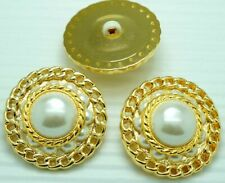 10 BIg Round Pearl Gold Tone Plastic Shank Sewing Buttons