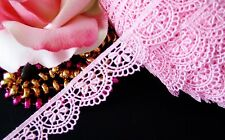 Very pretty pink floral embroidered lace trim - price for 1 yard
