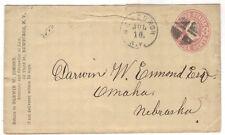 c1864 Newburgh NY U58 Postal Stationery cork Entire to Nebraska Orange County