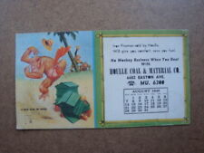 Signed Lawson Wood Monkey Advertising Coal & material Co. - 1949 Blotter Hives
