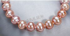 """12-14mm natural south sea genuine gold pink round pearl bracelet 7.5-8"""" AAA"""