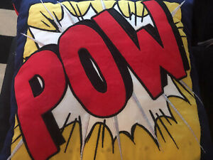 NEW POTTERY BARN Superhero POW RED Blue ACCENT PILLOW 16 Inch Square Light Up