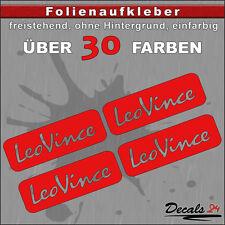 4er SET - LEO VINCE Sponsoren-Folienaufkleber Auto/Motorrad - 30 Farben - 6cm