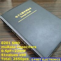 0201 SMD Chip Capacitors Assorted Kit 0.5pF~220nF 51Valuesx50 Sample Book muRata