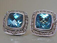 $1200. DAVID YURMAN,SS ALBION BLUE TOPAZ DIAMOND EARRINGS