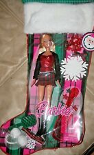 Holiday Stocking Gift Set Barbie Plaid Mini Ornament Christmas Nrfb