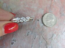 Sterling Silver Pearl Shortener Clasp Enhancer w/ Pave Sparkle Stones Design NEW