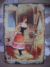 plaque en métal style émail vintage publicité corsets motif femme rétro 20x30cm