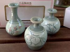 VTG Gorgeous Mini Set Of 3 Crackled Glazed Handmade Ceramic Vases. New