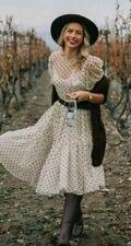H&M Trend Cream White Spot Flock Print Mesh Midi Maxi Frill Dress S 10 12 BNWT