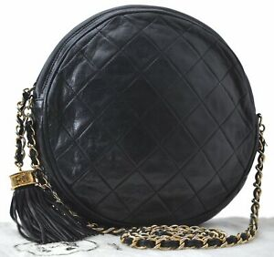 CHANEL Lamb Skin Matelasse Fringe Chain Shoulder Cross Body Bag Black CC B6081