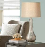 Coastal Table Lamp Mercury Glass Gourd Silver Taupe for Living Room Bedroom