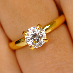 1.50Ct D/VVS1 Round Shape Solitaire Engagement Ring In Real 14KT Yellow Gold