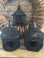Lantern Large Black Mesh Metal Hanging Candle Holder 3 Designs Decoration