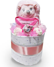 HEDGEHOG RATTLE NAPPY CAKE Girl Baby Shower Quality Hamper Gift (HAM184) NEW