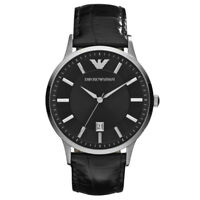 Emporio Armani Men's AR2411 Classic Analog Black Dial Black Leather Watch