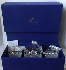 SWAROVSKI CHRISTMAS 2015 3 PIECE ANNUAL BALL ORNAMENT SET 5136414 ~ NEW IN BOX