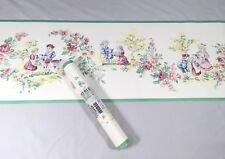 Waverly Wallpaper Border White Green Yellow Pink Country Floral Children French