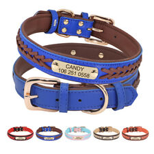 Soft Braided Leather Dog Collar Personalised ID Name Phone Plate Engraved S-2XL