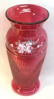 Fenton Art Glass Hand Painted Ivory Roses On Cranberry Ribbed Vase
