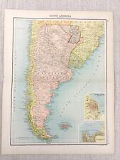 1898 Map of South America Buenos Aires Valparaiso Bartholomew Antique Original