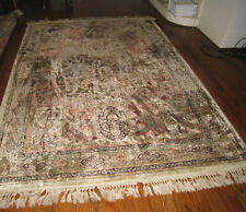Old Rug Soft Pile Geometric Design Fring Wear Many Impefections No Label 62 x 88
