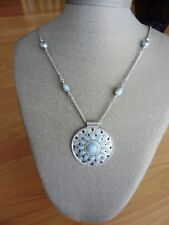 Lucky Brand Silvertone  Beaded Blue Stone Round Pendant Necklace MSRP $45
