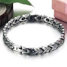 Titanium Steel Magnetic Therapy Health Jewelry Women Men's Bracelet 7.8mm 7.87''