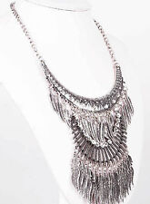 ethnic Silver leaf pendants feather Statement Chunky Choker Necklace