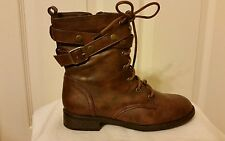 """NEW Womens Sz 6 Forever """"Justina"""" Brown Military Combat Ankle Boots"""