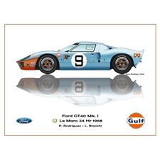 Print on paper Gulf Ford GT40 MKl #9 Rodriguez / Bianchi Winners 24h LM 1968