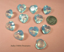 BLUE MOONSTONE GLASS HEART 1/2 x 1/2 INCH DRILLED AT THE TOP HAND CUT IN JAPAN