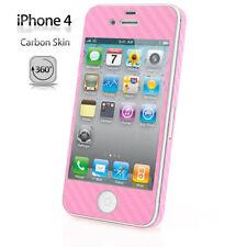 Apple iPhone 4 Carbon Schutz Folie Rundumschutz Case Cover Skin Set Neu rosa