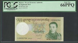 Bhutan 20 Ngultrum ND(2013) P30b Uncirculated Graded 66