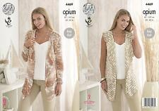King Cole 4469 Knitting Pattern Ladies Waistcoat and Cardigan in Opium