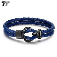TT Royal Blue Leather Black 316L Stainless Steel Buckle Bracelet (BR256) NEW