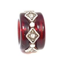 Authentic Brighton Soleil Bead, J9276A Silver, Red Resin, New