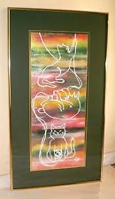 "Original Acrylic Painting ""Kitty Cat at Play"" Artist Signed 32""x 18"" Gold Frame"